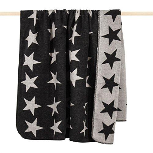 Unbekannt pad Wohndecke - Stars - 150 x 200 cm - trendige weiche Wolldecke mit Sternen - Wendedecke zweifarbig - Waschbar bei 30°C, Farbe:Pad Black_L00