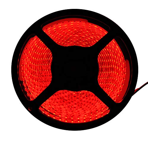 FAVOLCANO LED Light Strip, Red IP65 Waterproof LED Tape Light, SMD 3528, 600 LEDs 16.4 Feet(5M) LED Strip 120 LEDs/M Flexible Tape Lighting
