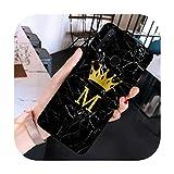 RaCarrot nombre personalizado carta monograma corona mármol negro caso del teléfono para Huawei Honor 8c 8X 10 20 9lite view20 xiaomi 8 9lite SE F1-a10-para vista de honor 20