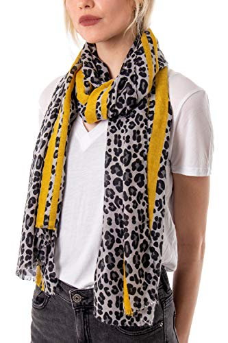 Leopard Print Scarves for Women | Animal Print Scarfs | Long Neck Scarf | Presents for Birthdays | Mustard Red | Shawls & Wraps | Mum sister friends presents