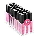 FAJ Lip Gloss Holder Organizer, 27 Spaces Clear Acrylic Makeup Lipgloss Display Case