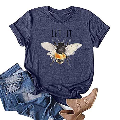 Rifuli Frauen Biene Art T-Shirts Niedliche Grafik Gesegnetes Hemd Lustige inspirierende Lehrer Herbst T-Shirts Tops