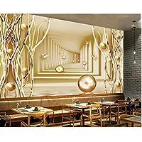 Iusasdz カスタム3D大きな壁画壁紙タペティゴールドバタフライゴールドツリーモダンスペースウォール背景3D壁紙-350X250Cm