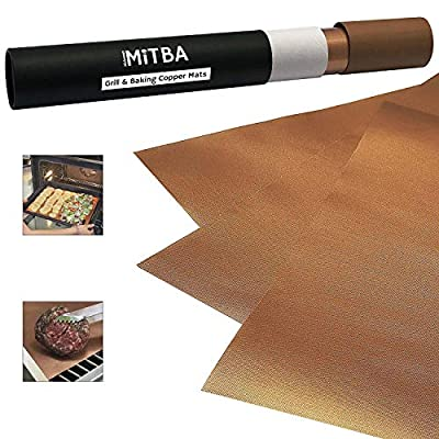 MiTBA Copper Grill Mats – Best Baking & Grilling Accessories Ever! These Non-Stick & Reusable Magic Gadgets Will Get You Flawless Meat and a Clean Barbecue! Set of 3 XL Mats in a Never-Lose-It Box! from MiTBA