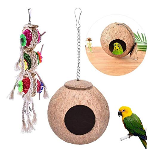2pcs Coconut Shell Bird Nest Parrot Nesting Bird House Hanging Chain Cage Chew Toy 1 Set Parrot Swing Toys Chewing Toy Colorful Braid Rope Ball Toy Hammock Hanging Toy for Perch Budgie