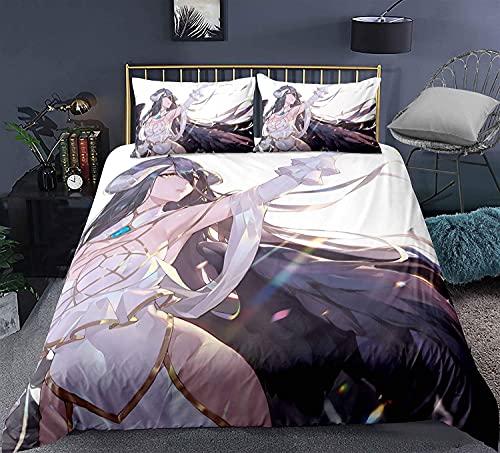 H-LIFE Overlord - Juego de funda nórdica de 140 x 200 cm, estampado 3D, ropa de cama ligera de microfibra, adecuado para todas las estaciones (Overlord-2,140 x 200 cm + 80 x 80 cm x 2)