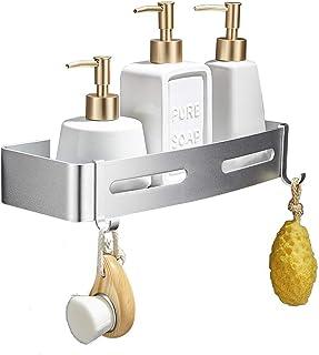 GERUIKE Baño Estante Autoadhesivo Baño Esquina para Ducha Aluminio Estante Ducha Sin Taladro Acabado Mate Cesta de Ducha Estantes de Pared Cesta Estanteria Rectangular Plata