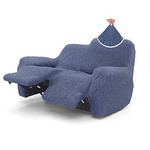 Menotti Sofabezug für 2-Sitzer-Sofa – Sanitized Relax-Bezug Couch-Schonbezug weicher Stoff mit Flügelrücken-Rückenlehne, Stretch-Möbelschutz, Mikrofaser-Kollektion (blau, 2-Sitzer-Liege)