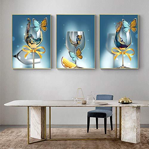 ZHJJD Mariposa Abstracta Copa de Vino Arte Lienzo Pinturas Cartel de Moda e Impresiones Imágenes artísticas Sala de Estar Moderna Decoración de la Pared del hogar 40x60cmx3 Sin Marco