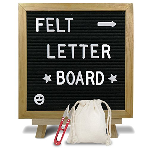 Stylish Felt Letter Board Sign with Wooden Stand - 10 X 10 Message Board - Changeable White Plastic Letters, Numbers & Symbols - Oak Frame – with Free Canvas Bag and Scissors