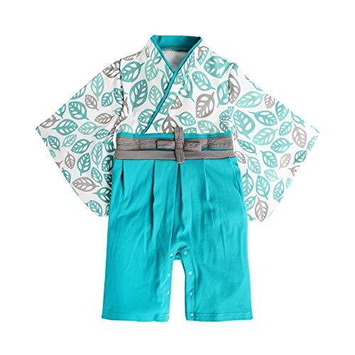 袴 ロンパース 男の子 衣装 ベビー服 赤ちゃん 和装 和服 フォーマル カバーオール 出産祝い (わかば, 90cm)