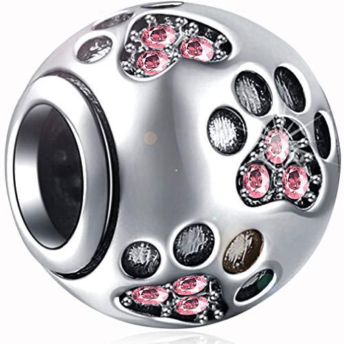 Ollia Jewelry Breloque en argent sterling 925 avec motifs de pattes en forme de boule et perles de style européen - rose