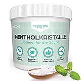 Mentholkristalle Sauna 100g - Rein natürliches Menthol für maximale Entspannung - Sauna Kristalle für wohltuende Saunaaufgüsse - Einfache Anwendung, inkl. Dosierlöffel - von Natureflow Vital
