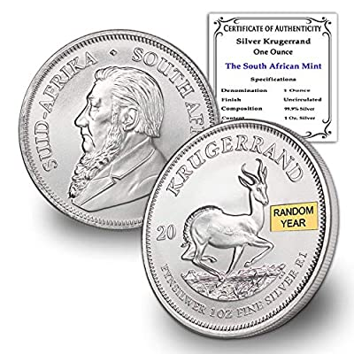 2017 ZA - Present (Random Year) South Africa 1 oz Silver Krugerrand Coin Brilliant Uncirculated w/Certificate of Authenticity by CoinFolio 1oz BU