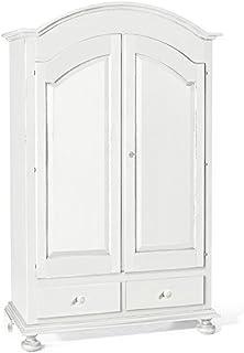 Armoire à Chapeau Rond, Style Classique, en Bois Massif et MDF avec Finition Blanc Mat - Dim. 125 x 61 x 200
