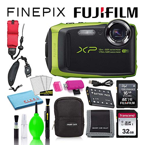 Fujifilm FinePix XP125 Waterproof Digital Camera (Lime) Best Value Accessory Bundle with 32GB SD Card + 16GB SD Card + Camera Case + Floating Wrist Strap + Deluxe Cleaning Kit + More
