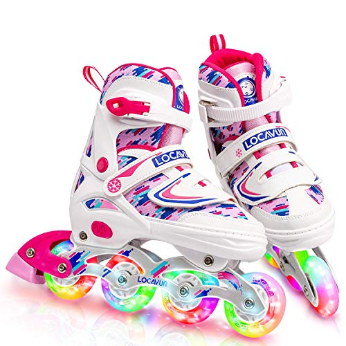 Locavun 4 Size Adjustable Light up Inline Skates for Kids, Beginner Roller Blades for Girls and Boys - 781 White-Small(11C-1Y)