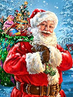 DIY 5D Diamond Painting by Number Kits, Crystal Rhinestone Diamond Embroidery Paintings Pictures Arts Craft for Home Wall Decor - Santa Claus (1216 inches)