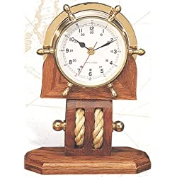 11 Solid Brass Ship Wheel Clock w/ Pulley Base