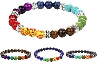 Healing Bracelets 4 Pieces 8Mm Energy Gemstones Chakra Bracelets Natural Lava Rock Stones Bracelets For Womens Mens (Rando...