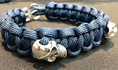 Totenkopf-Armband   Anker-Verschluss   Nylon-Seil   Paracord-Seil   Piraten-Style