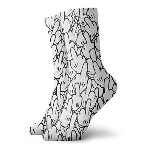 Hokzonb Casual Crew Socken Mittelfinger von Mickey Mouse Knöchelsocken kurz Kleid Kompressionssocken für Frauen Herren 30 cm