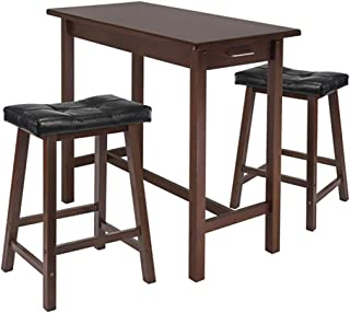 Wood & Style Premium Décor 3-Pc Breakfast Table Set with 2 Cushion Saddle Seat Stools