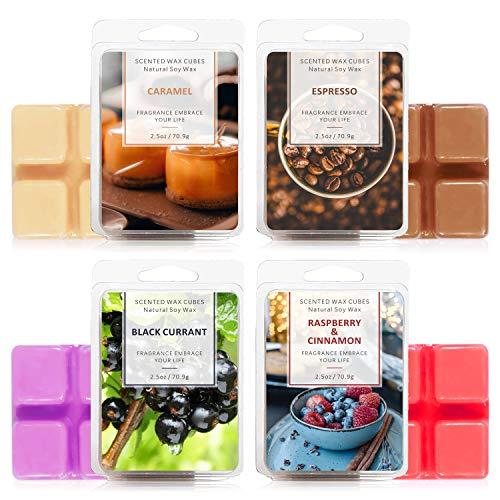 LA BELLEFÉE Scented Wax Cubes,Wax Melts, Food Scented Wax Melts, Natural Soy Wax Cubes, for Warmer(4x2.5oz, Caramel, Espresso,...