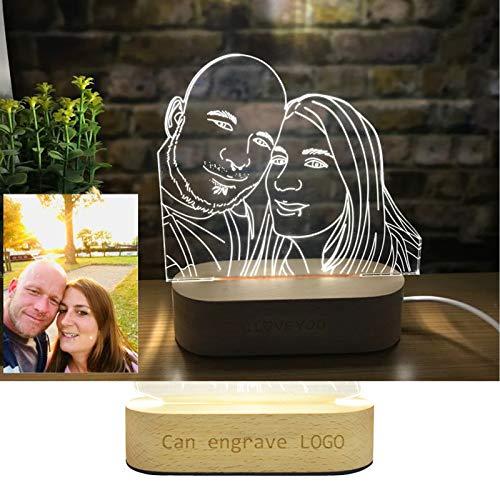 NEWPITE Personalisierte 3D Lampe Nachtlicht, Led Tischlampe, Anpassen Fotogravur Benutzerdefinierte Text 3D Kristall LED Lampe