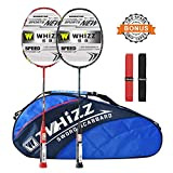 WHIZZ Graphite Badminton Racket Set, Upgraded Version with Grommet Strip (Y56 Black+Red)