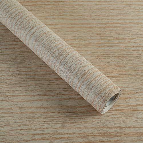 Papel de pared de grano de madera autoadhesivo, revestimiento de vinilo para estantes de cocina, armarios, cajones, muebles de pared, 45 x 1000 cm (roble blanco)