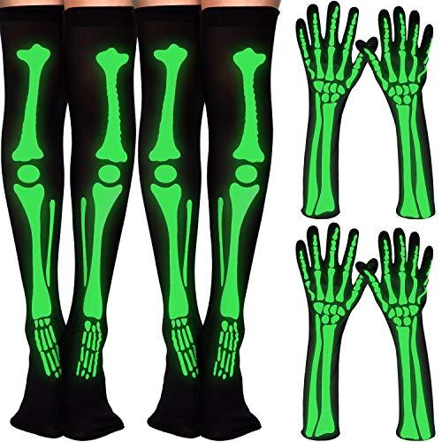 4 pares de calcetín de esqueleto de Halloween, guantes largos con patrones de brillo para el muslo alto, guantes de esqueleto para disfraz de Halloween, color negro