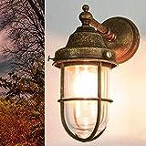Maritime Wandleuchte Außen aus Messing in Bronze Antik Handarbeit Premium Außenlampe Haus