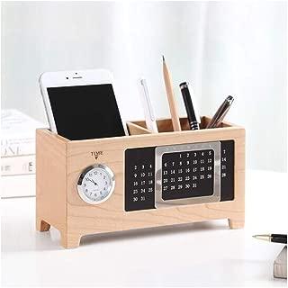 DKX Pen Holder, Wooden Office Supplies Stationery Desktop Storage Box, Graduation Classmates, Gifts, Pen Holder (Quartz Watch) (Color : A)