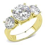 ISADY - Meghan Gold - Damen Ring - 585er 14K Gold platiert - Zirkonium Transparent - Verlobungsring - T 52 (16.6)