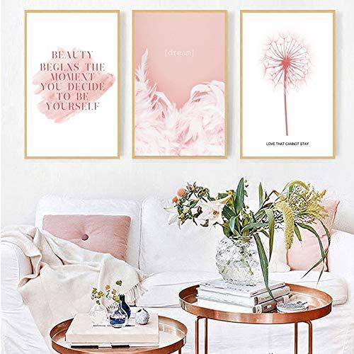 adgkitb canvas Nordic Dream Pink Letter Löwenzahn Blumen Wandbilder Leinwandbilder Poster und Kunstdrucke Leinwandbilder Kunst ungerahmt