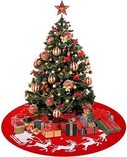 YQing 122 cm Weihnachtsbaumdecke Rund, Christbaumdecke Christbaumrock Rund Christbaum Abdeckung, Tannenbaumdecke Weihnachtsdeko für Weihnachtsfeiertag