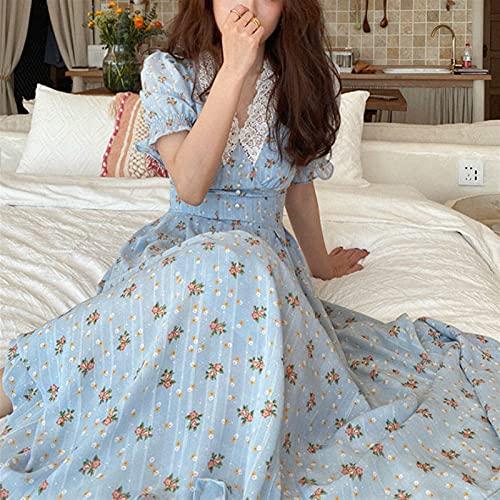 Yuncheng Vintage Vestido Floral Vestido de Encaje de Mujer Chiffon Boho Vestido de Playa Vestido de hojaldre Vestido de Cuello en V Cuello Vestidos de otoño (Color : Blue, Size : S)