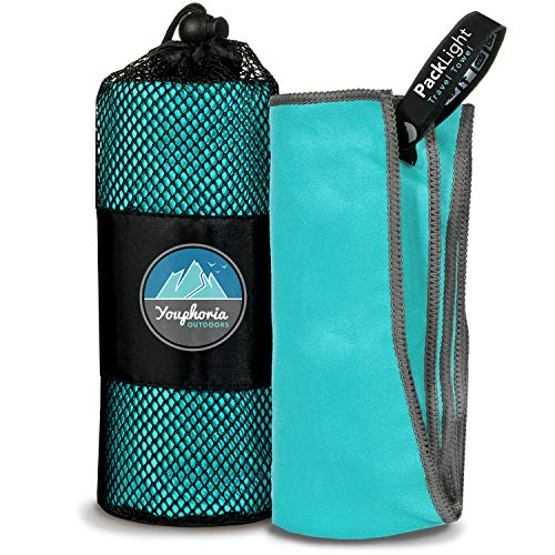 Youphoria Outdoors Microfiber Travel Towel - Ideal Fast Drying Towels for Camping, Travel, Beach, Backpacking, Gym, Sports, and Swimming - Lightweight, Quick Dry and Absorbent - 3 Sizes