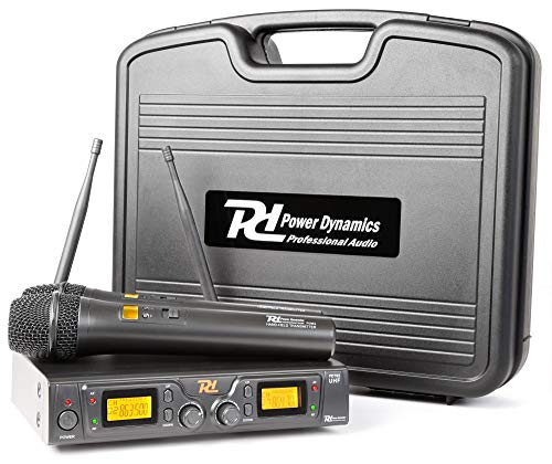 "Power Dynamics PD781 2 x Micrófono Inalámbrico 8 Canales UHF (micro con indicador LCD, antena en la parte posterior, para racks de 19"")"