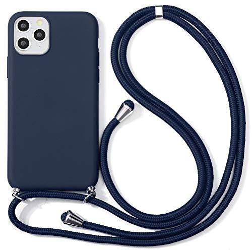 ZhuoFan Funda con Cuerda para Xiaomi Redmi Note 7/7 Pro Carcasa de Silicona Suave Case con Colgante Cordon Colgar Correa de Cuello para el teléfono Antichoque Bumper para Móvil 6.3''-Azul