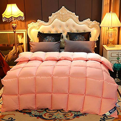 Bedding Edredón de Fibra 220x240 cm,Color sólido del edredón del invierno del edredón de la base del edredón del edredón de la versión de AB de la calidad del hotel-gris rosado pálido_150x200cm 2000g