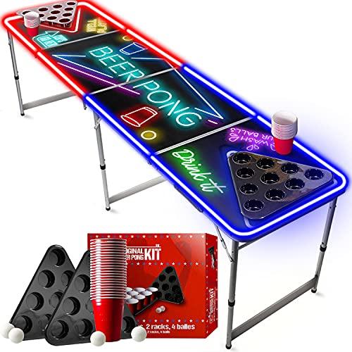Offizieller Spotlight Beer Pong Tisch Set | Mit LED Beleuchtung | 1 Beer Pong Tisch + 2 Beer Pong Rack + 22 Rot Becher 53cl + 4 Ping-Pong-Bälle | OriginalCup®