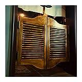 GDMING Louvered Puertas De Cafe Puertas Batientes, Retro Madera Maciza Puerta...