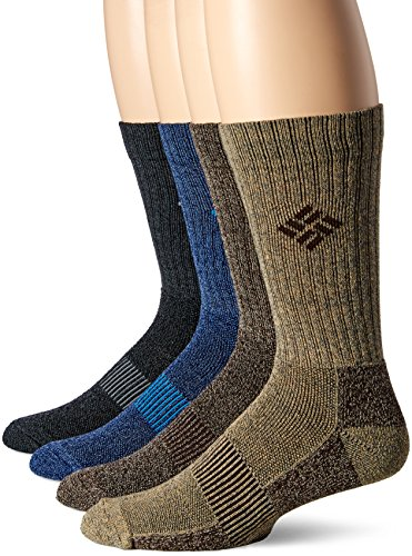 Columbia Men's 4 Pack Moisture Control Ribbed Crew, Assorted, Sock Size: 10-13/Shoe Size:9-11