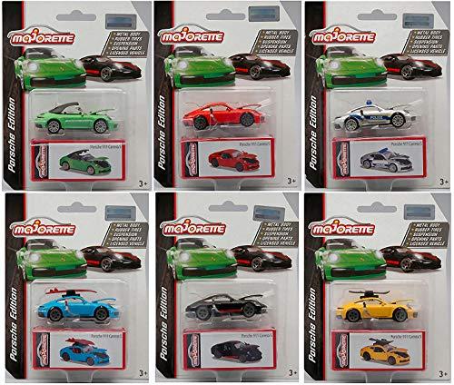 PORSCHE DELUXE CARS (6 Modellini) cm 7,5 1:64 - Majorette - Auto Stradali - Die Cast - Modellino