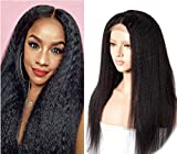 Brazilian Kinky Straight Human Hair Wigs 4x4inch Lace Front Wigs Yaki Straight Unprocessed Vigin Hair Lace Closure Wigs Natural Color 14inch