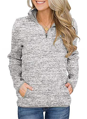 Smile Fish Damen Beil?ufig Lange ?rmel Stehkragen Sweatshirt Top 1/4 Zip Oversized Pullover mit Taschen(Grau,XL)