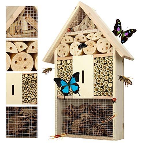 ECD Germany Insektenhotel Insektenhaus Bienenhotel Nistkasten Brutkasten Insekten Hotel - HxBxT 47,5 x 31,5 x 10 cm - Kiefer, Bambus Tannenzapfen Holzspäne Gitter und Aufhängung aus Metall