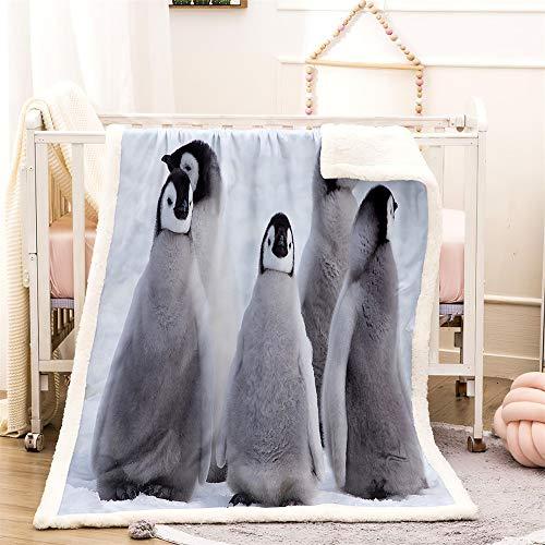 Meiju Coperta Sherpa in Pile, Morbida e Calda Stampata Pinguino Carino Coperta per Bambini/Adulti, Matrimoniale Invernale Coperta per Divano, Sedie, Letto (Baby Pinguino,100x150cm)